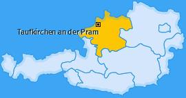 Karte von Taufkirchen an der Pram