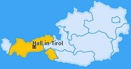 Karte Hall in Tirol Hall in Tirol