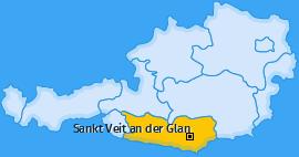 Bezirk Sankt Veit an der Glan Landkarte