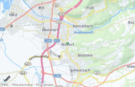 Stadtplan Wolfurt OT Post Logistikzentrum