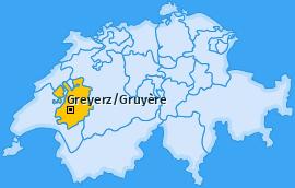 Bezirk Greyerz/Gruyère Landkarte
