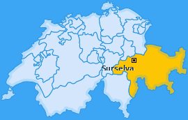 Bezirk Surselva Landkarte
