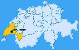 Bezirk Lausanne Landkarte
