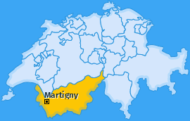 Bezirk Martigny Landkarte