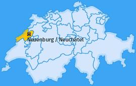 Bezirk Neuenburg / Neuchâtel Landkarte