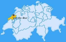 Bezirk Val-de-Ruz Landkarte