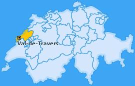 Bezirk Val-de-Travers Landkarte