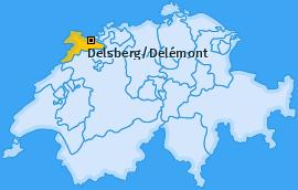 Bezirk Delsberg/Delémont Landkarte
