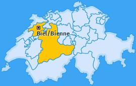 Karte Mett/Mâche Biel/Bienne