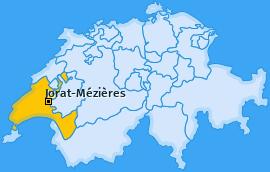 Karte Ferlens Jorat-Mézières