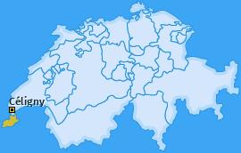 Karte von Céligny