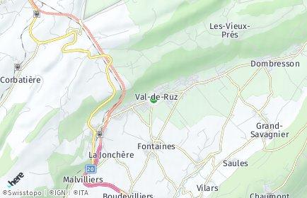 Stadtplan Val-de-Ruz OT Fenin-Vilars-Saules