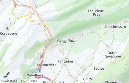 Stadtplan Val-de-Ruz OT Dombresson