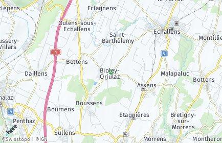 Stadtplan Bioley-Orjulaz