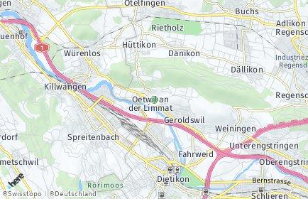 Stadtplan Oetwil an der Limmat