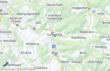 Stadtplan Turbenthal OT Hutzikon
