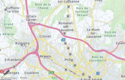 Stadtplan Jouxtens-Mézery