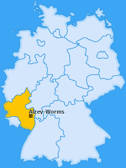 Kreis Alzey-Worms Landkarte