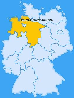 Karte von Wurster Nordseeküste