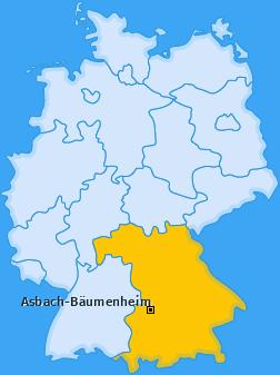 Karte von Asbach-Bäumenheim