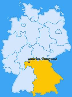Karte von Aura im Sinngrund
