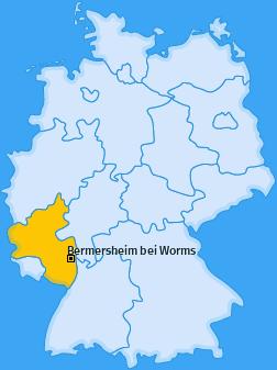 Karte von Bermersheim bei Worms