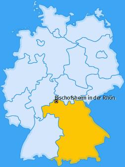 Karte von Bischofsheim in der Rhön