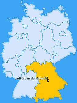 Karte von Dietfurt an der Altmühl