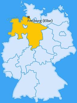 Karte von Freiburg (Elbe)