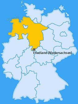 Karte von Friedland (Niedersachsen)