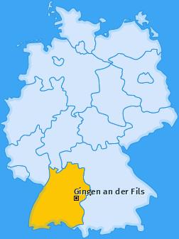 Karte von Gingen an der Fils