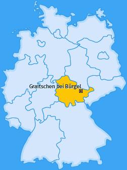 Karte von Graitschen bei Bürgel