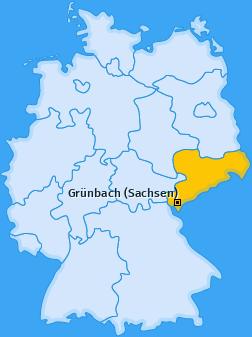 Karte von Grünbach (Sachsen)