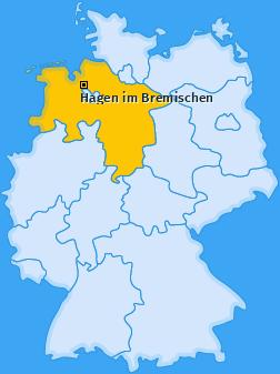 Karte von Hagen im Bremischen