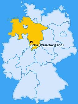 Karte von Halle (Weserbergland)
