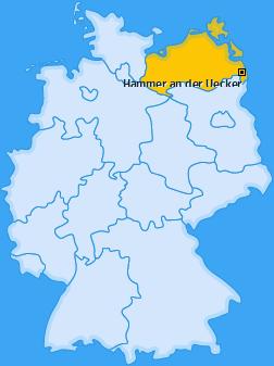 Karte von Hammer an der Uecker