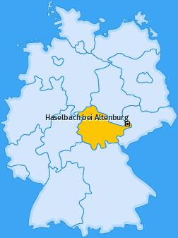 Karte von Haselbach bei Altenburg