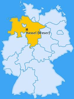Karte von Hassel (Weser)