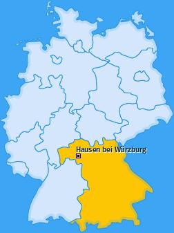 Karte von Hausen bei Würzburg