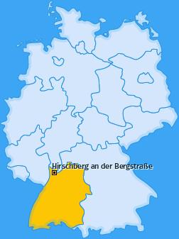 Karte von Hirschberg an der Bergstraße