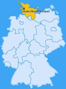 Karte von Hude (Nordfriesland)