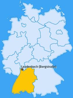 Karte von Laudenbach (Bergstraße)