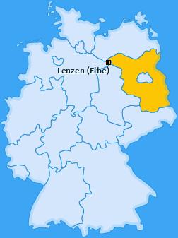 Karte von Lenzen (Elbe)