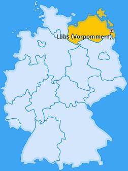 Karte von Lübs (Vorpommern)
