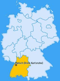 Karte Neumalsch Malsch (Kreis Karlsruhe)