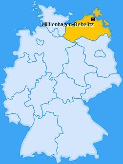 Karte von Millienhagen-Oebelitz