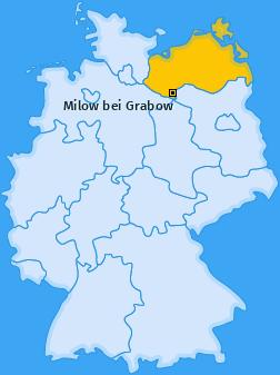 Karte Krinitz Milow bei Grabow