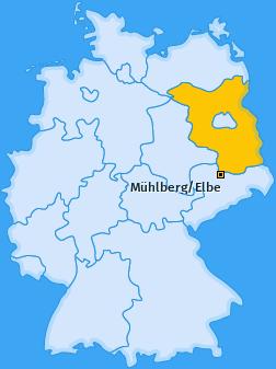 Karte von Mühlberg/Elbe