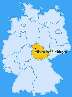 Karte von Mühlhausen/Thüringen