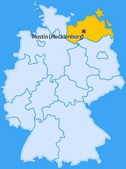 Karte von Mustin (Mecklenburg)